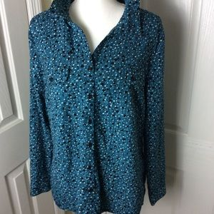 Kim Rogers teal dotted blouse